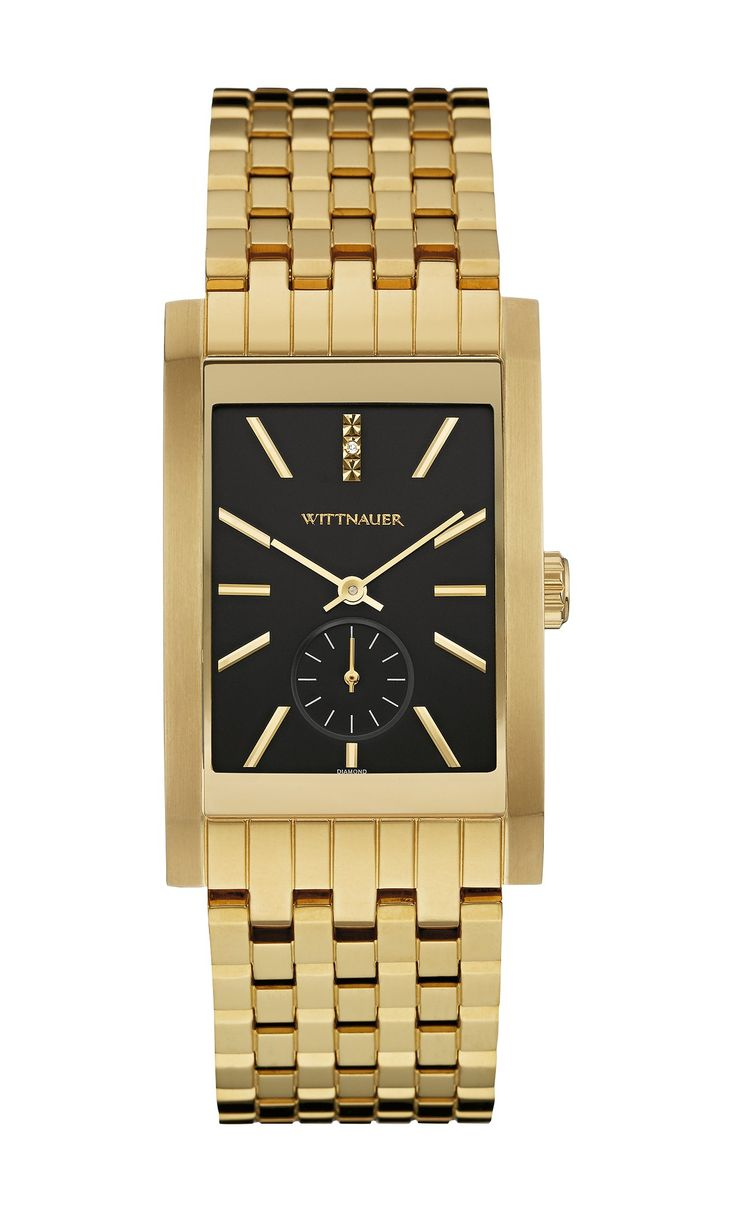 Wittnauer Wn3058 Men's Strainless Steel Gold Bracelet Band Black Dial Square Watch. Stainless steel case and bracelet with gold-tone finish. 1 individually hand-set diamond at the 12 mark. Scratch-resistant curved sapphire glass. Black dial. Six-hour sub-eye. Double-press deployment closure. Water resistance to 50 meters. Diameter: 28mm X 49.5mm. Styling, classic sophistication, and a tailored look define this slick and streamlined diamond watch. Manufacture Warrenty. Stylish and…