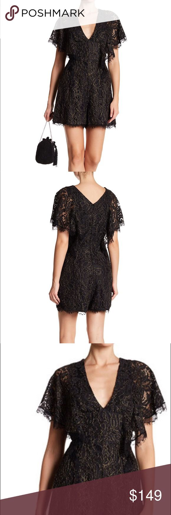 🆕Dress The Population Raven Lace Romper Black NWT Raven Lace Romper $219.00 Description Additional Information Approx. 33 1/2″ length Cape-like sleeves Metallic gold threading Zipper at center back Lined Dry clean 100% polyester Made in USA with imported fabric Dress the Population Other