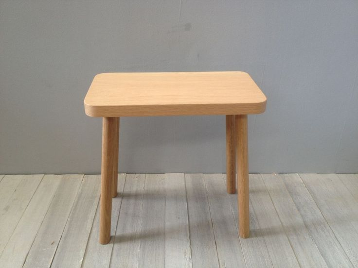 medium rectangular stool in American oak