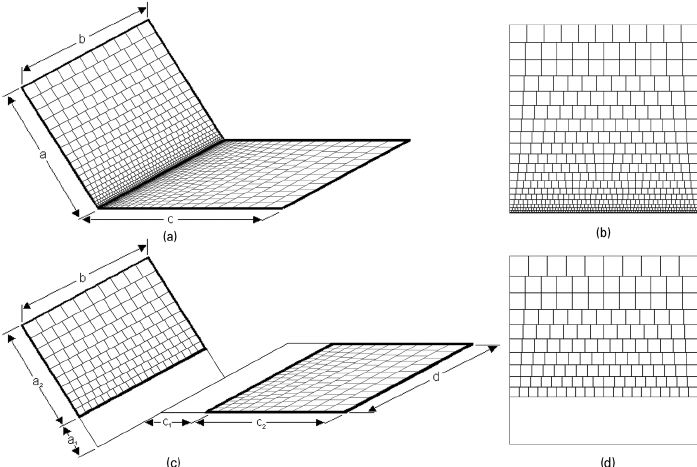 FIG. 13. A non-uniform grid, where cells increase in a proportional arithmetic progression, could be applied on (a) two rectangular surfaces with one common edge; (b) grid for receiving surface with N a 1⁄4 20 rows of cells; (c) two non-intersecting