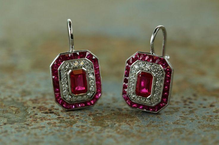 "Ruby & Diamond Art Deco ""Block O"" Earrings"