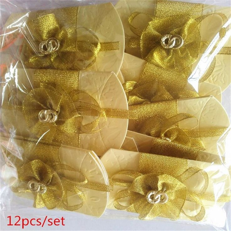 Romantic Wedding Party DIY Candy Box with Ribbon Bowknot 12pcs/set Wedding Favors Decor Candy Cookie Gift Boxes