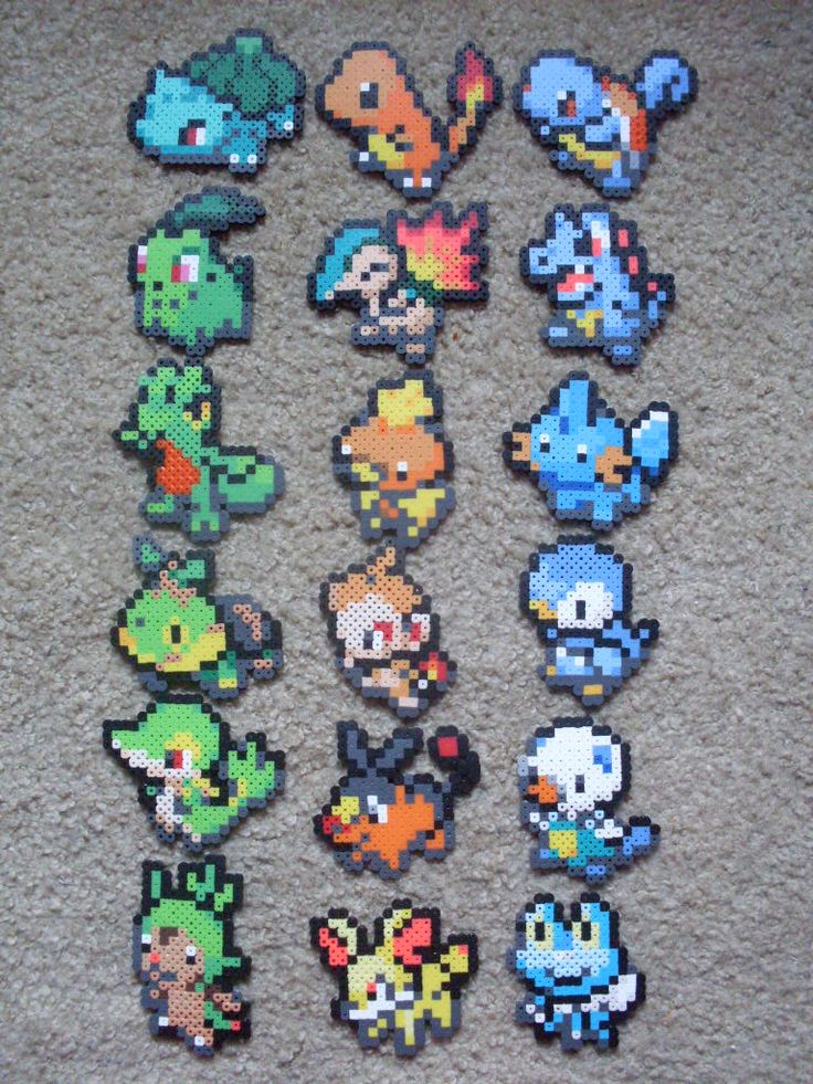 Finished all 6 generation's starter trios! They came out awesome. ^_^ Ordered from oldest generation to newest. Row 1: Bulbasaur, Charmander, Squirtle Row 2: Chikorita, Cyndaquil, Totodile Row 3: T...