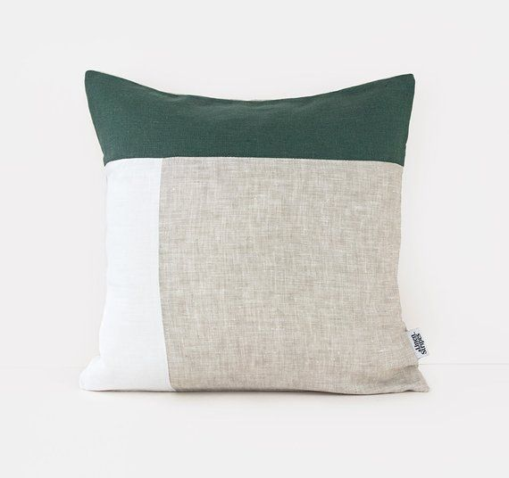 Mid Century Modern Pillow In Dark Green White Beige Linen Green Throw Pillows Mid Century Modern Pillows Modern Pillows