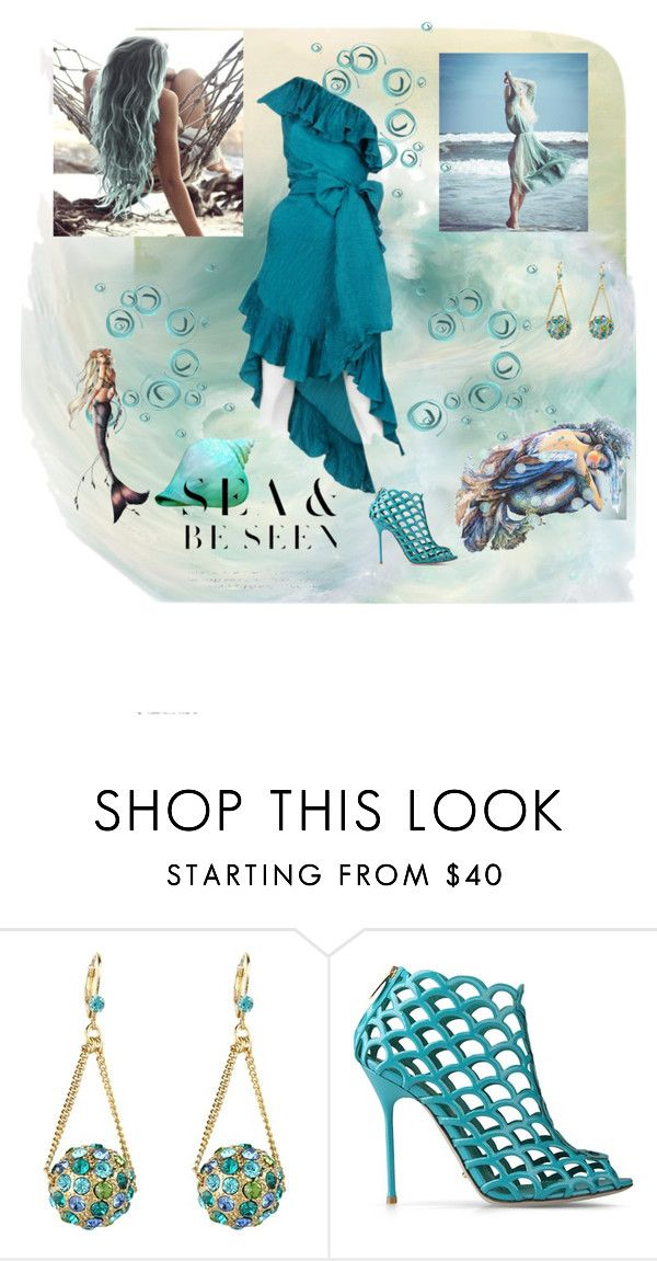 """See & Be Seen"" by lillibunneh ❤ liked on Polyvore featuring Betsey Johnson, Sergio Rossi, Yves Saint Laurent, Iron Fist, aqua, mermaids and aqua heels"
