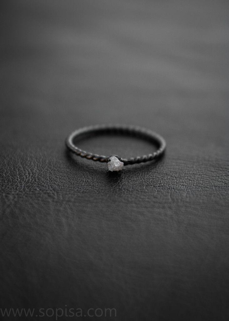 Ivy, an oxidized sterling silver ring with a raw diamond - by Sopisa #diamondring #rawdiamond #rawdiamondring
