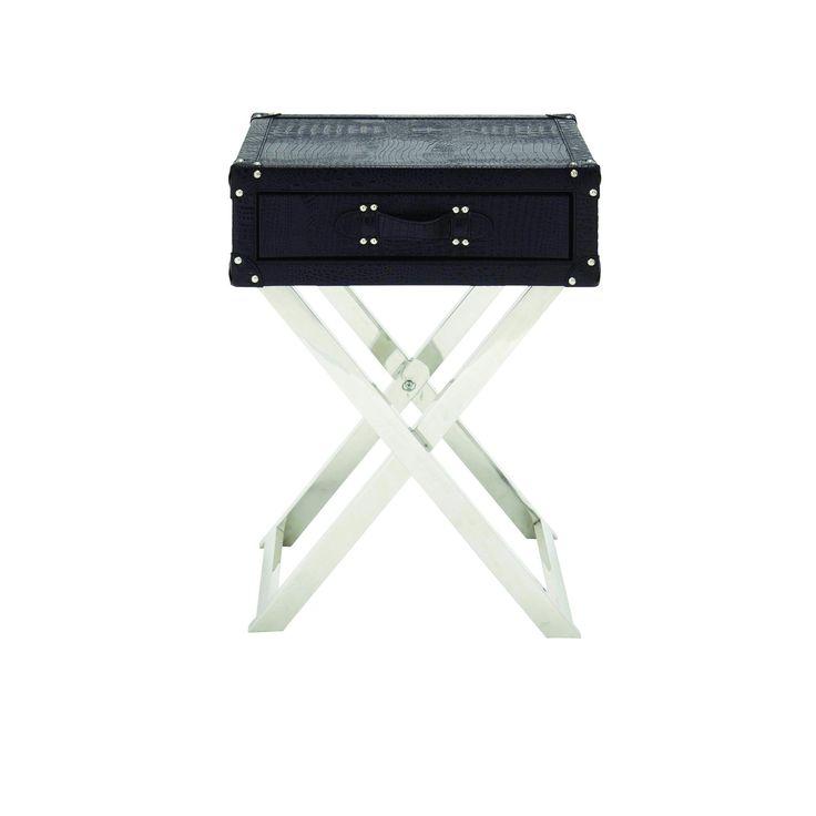 Woodland Imports 70666 Single Drawer Leather Folding Table