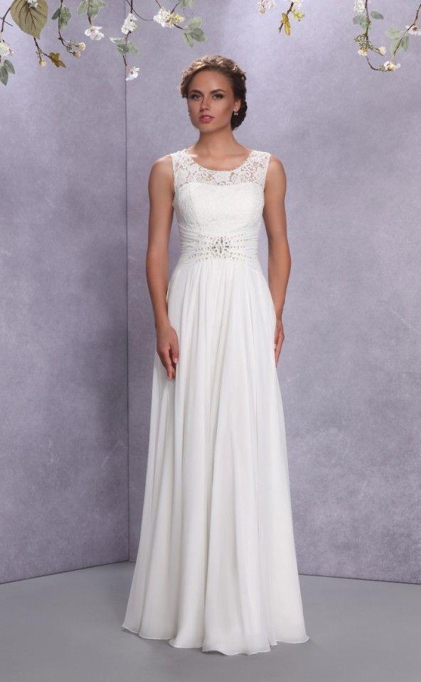 Realizado en chifón se muestra el vestido de novia Minerva, un modelo de líneas sencillas con un estilo juvenil perfecto para bodas que se realicen en el exterior y en época estival.