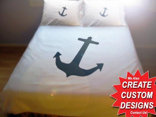 Nautical Anchor Duvet Cover Queen Bedding Size King Twin, king bedding, twin bedding, dorm bedding double cotton anchor bedding sheet set