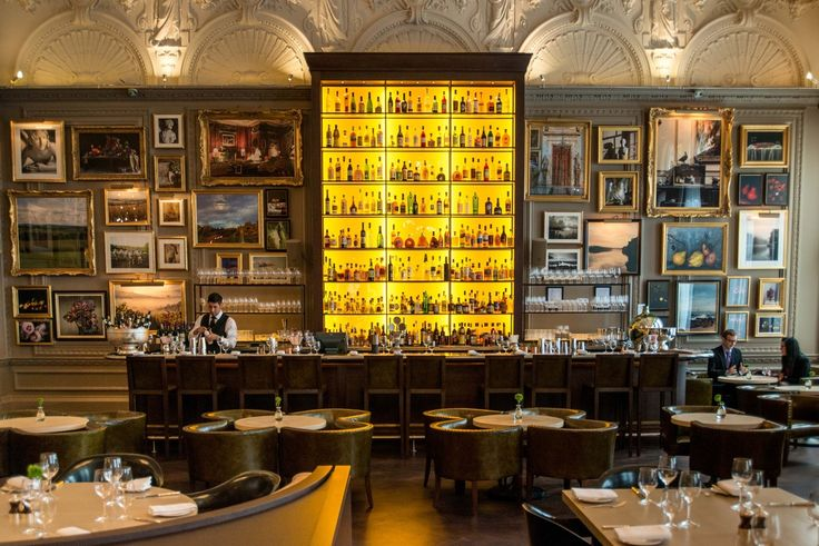 The new Berners Tavern restaurant (chef Jason Atherton) at the Ian Schrager hotel, The London Edition on Berners Street, London