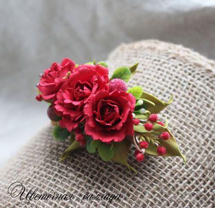 """Заколки ручной работы. Ярмарка Мастеров - ручная работа. Купить Заколка-автомат  """"Алла"""". Розы. Handmade. Ярко-красный"""
