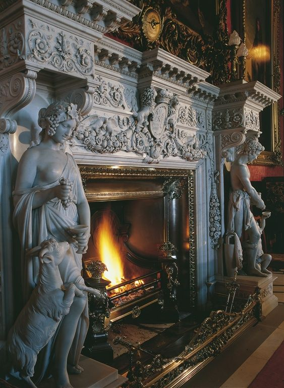 In the dining room at Alnwick, one of Britain's most iconic castles. This intricate white marble chimney piece was carved in Italy c.1825 by sculptors Nucci and Strazza.