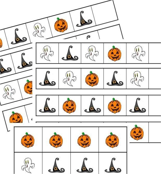 File Folder Game - Halloween Patterns - Preschool Kindergarten First Grade