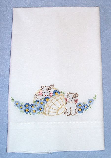 SPRINGTIME PUPPIES - hand embroidered pillowcase with vintage embroidery design.
