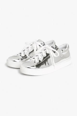 Monki Metallic sneakers in Silver