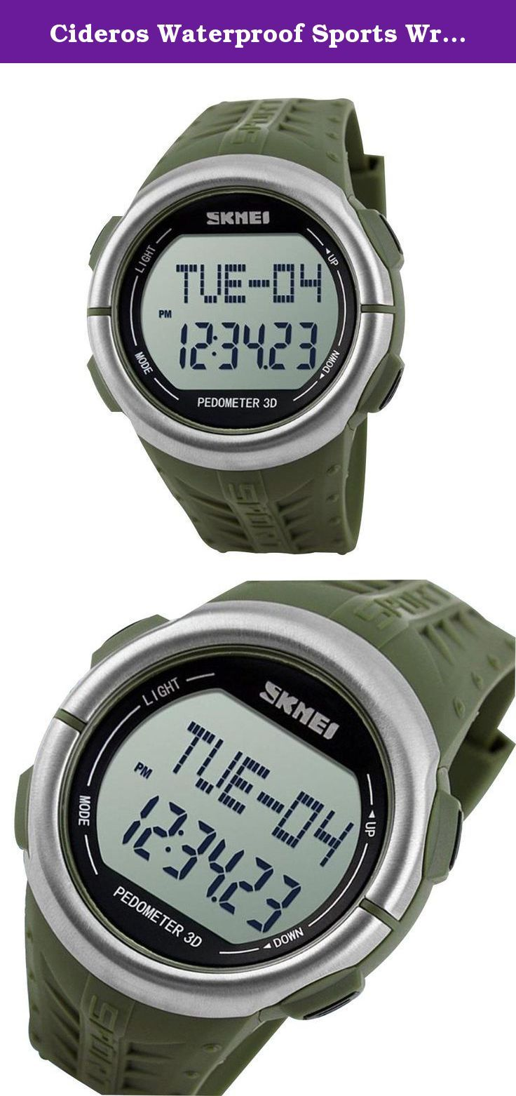 """Cideros Waterproof Sports Wrist Watch Fitness Activity Tracker with Multifunction Heart Rate Monitor Pedometer Alarm Clock Timer for Running Hiking Swimming - Deep Green. Multifunction fitness tracker and 3D pedometer Alarm Clock, step counter etc. Waterproof for swimming (Do not press any buttons under water or while swimming) To use the heart rate monitor function: 1 Wear the watch on the wrist and press """"Mode"""" Button 2 Press on the watch at the 6 and 12 o'clock direction on the bezel…"""