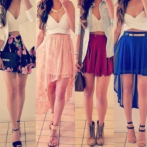 Skirts, shoes, what's not to like about the crop top too!?!
