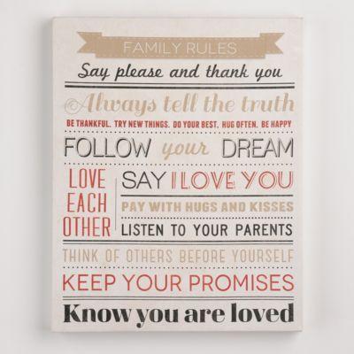 Loving Family Rules Canvas Art | Kirkland's