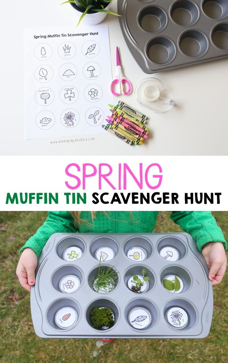 This spring scavenger hunt is a fun outdoor activity for kids! Grab a muffin tin, get the free printable, and head outside for fresh air.