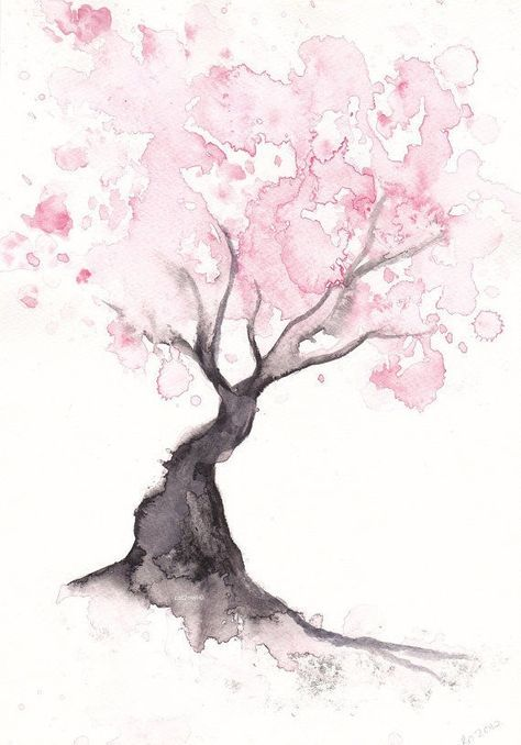 ○°•♡•°○ More https://www.etsy.com/listing/151041616/pink-cherry-blossom-tree-watercolor
