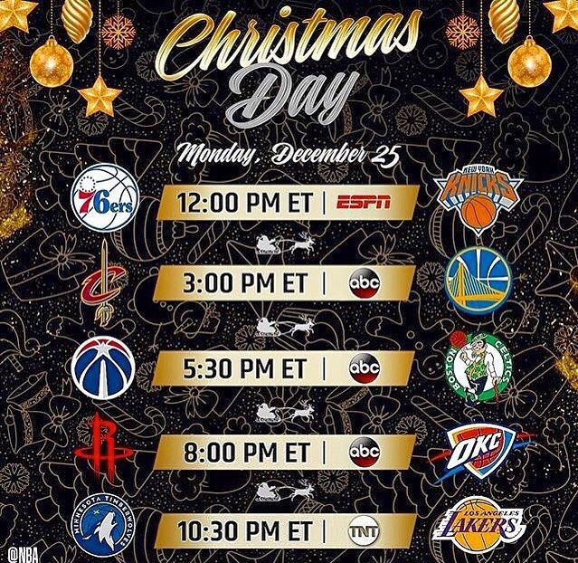 Whats better than Christmas? A FULL DAY OF NBA HOOPS!  Who yall got winning todays games?  ___________________________________________  #NBA #Christmas #NBAxESPN #Sixers #Knicks #Cavs #Warriors #Wizards #Celtics #Rockets #Thunder #Timberwolves #Lakers #basketball #LonzoBall #LeBronJames #KevinDurant #JoelEmbiid #KristapsPorzingis #JohnWall #KyrieIrving #RussellWestbrook #JamesHarden #AndrewWiggins #sparkfam