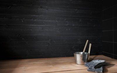 Struktuuri 176 perheen musta saunapaneeli tuo mystiikkaa saunaan! Suoralinjainen paneeli tuo modernia tyyliä saunaan.