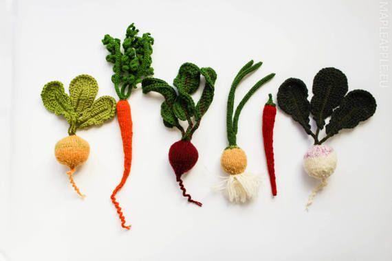 VOORBEHOUDEN - set van groenten - Speel voedsel fruit - Baby Foto prop zacht stuk speelgoed - gebreide groenten groen wit voorjaar tuinieren