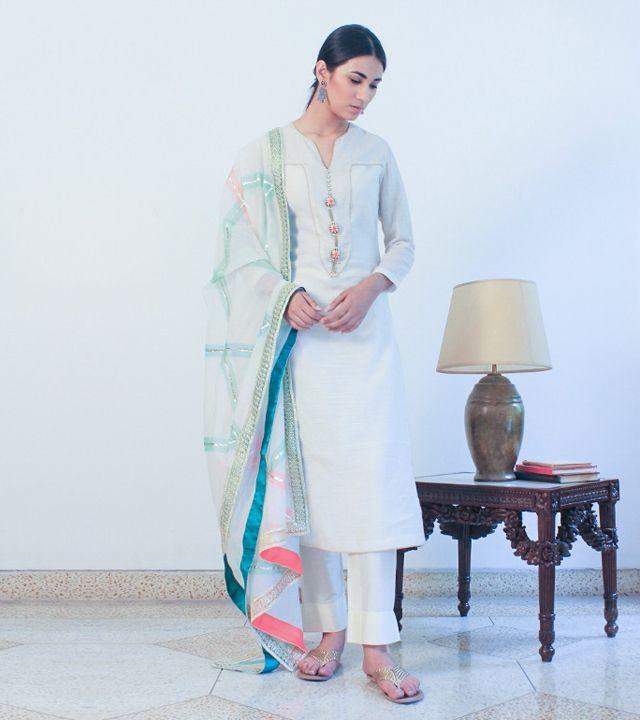 Off White Chanderi Cotton Appliqued Salwar Kameez With Dupatta #indianroots #ethnicwear #salwarkameez #chanderi #cotton #appliqued #summerwear #casualwear