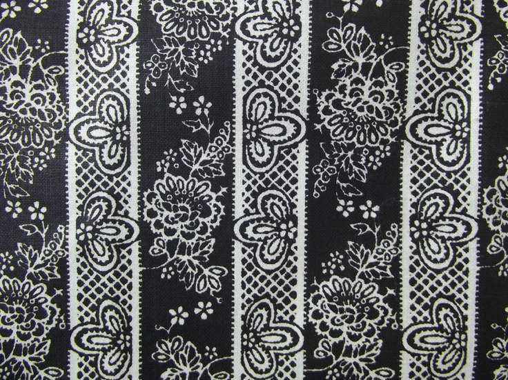 Vintage vertical striped fabric floral foulard paisley pattern chic black and white approx 1