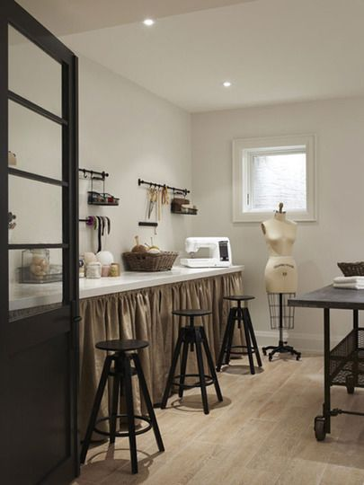 Monochromatic sewing room House + Home via Apartment Therapy