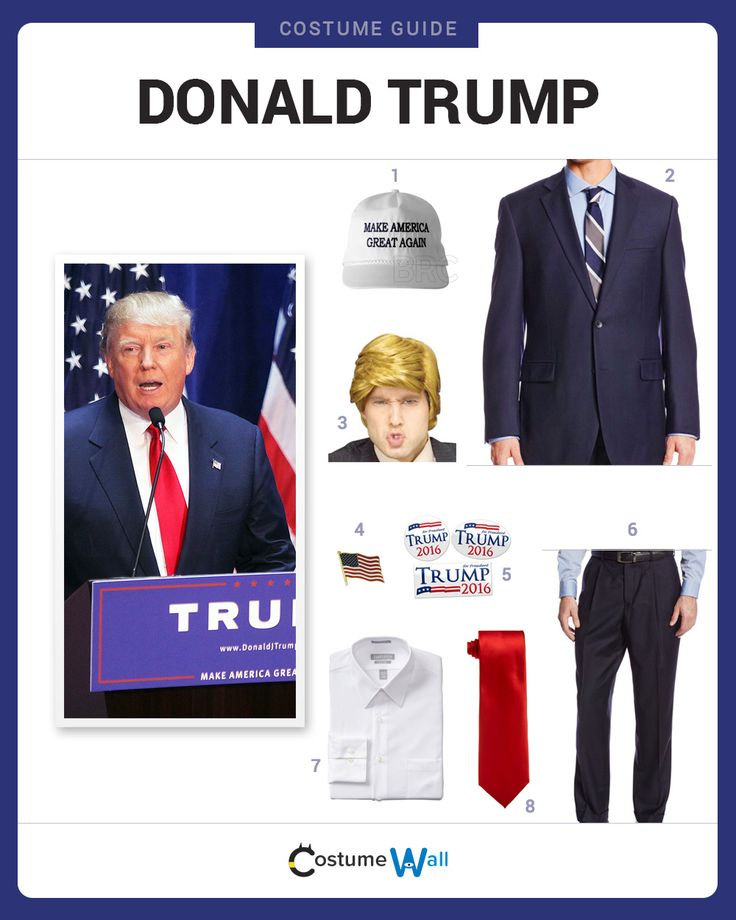 Dress like real estate mogul Donald Trump. Get cosplay inspiration and more Donald Trump costume ideas.