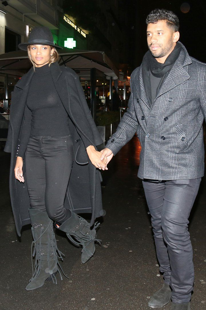 Ciara and Russell Wilson Coordinate Outfits and Hold Hands in Paris