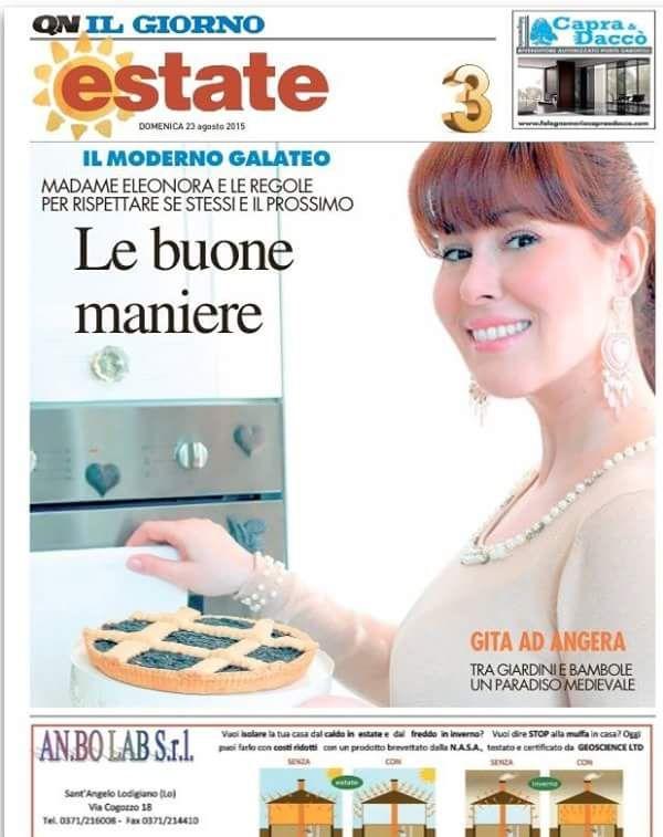 Di seguito l'intervista a Madame Eleonora uscita domenica 23 agosto sui quotidiani nazionali: Il Giorno - La Nazione - Il Resto del Carlino. Buona lettura