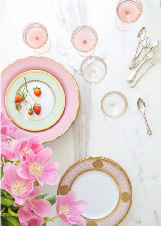 .: Stones Foxes, Tables Sets, Teas Time, Plates, Colors, Pale Pink, Places Sets, Teas Parties, China