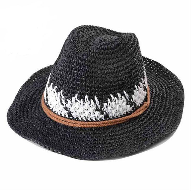 Cowboy Straw Hat Horse Riding Hat Men Women Crochet Straw Floppy Sun Hats Summer Beach Sun Protection Coffee Khaki Gray Beige