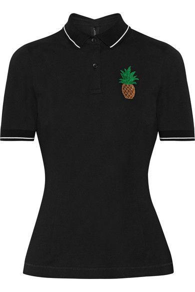 Dolce & Gabbana - Appliquéd Cotton-piqué Polo Shirt - Black - IT44