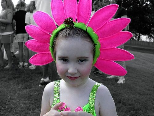 Girl in Flower Costume -- with a butterfly on her head!