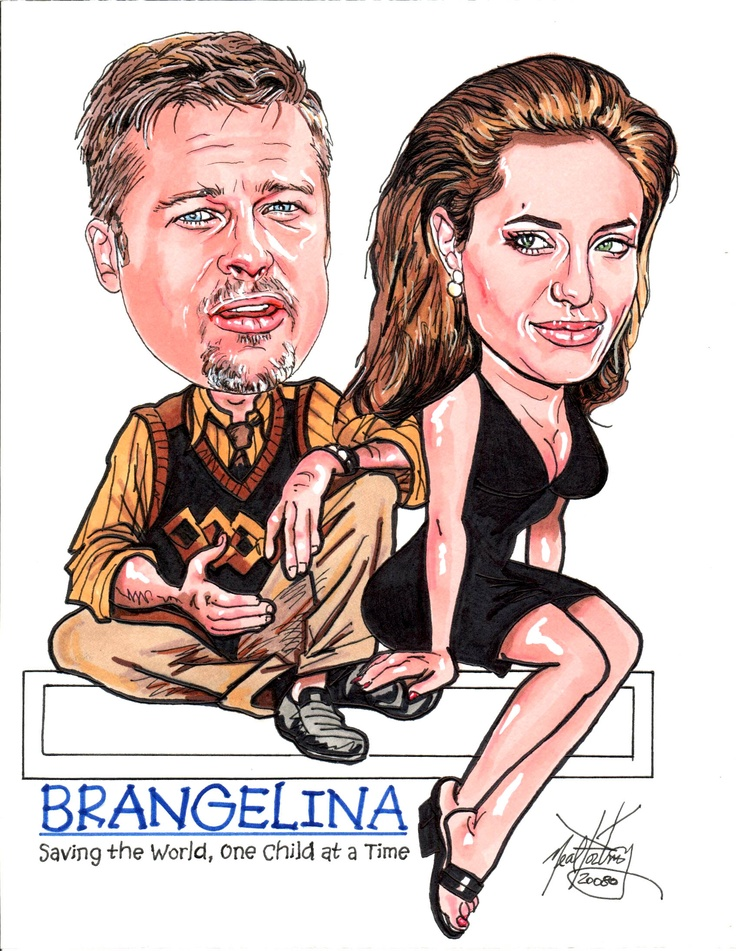 "Brad & Angelina AKA Brangelina.  I created this ""portrait caricature a few years ago with markers."