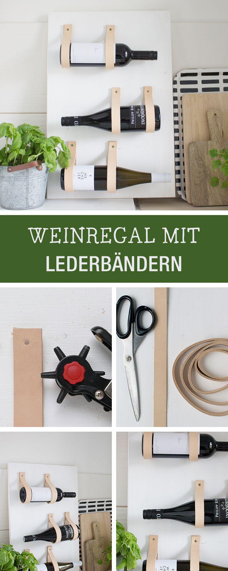 DIY Möbel: Weinregal bauen aus Holz mit Ledergriffen / diy furniture: how to build a wine rack via DaWanda.com