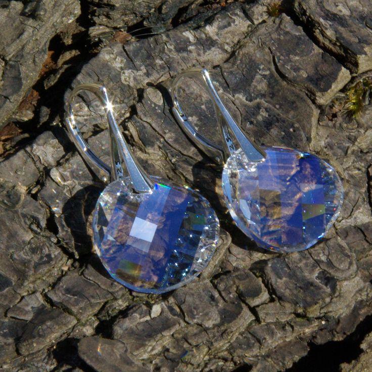 Crystal Leverback Earrings Swarovski Crystal Earrings Swarovski Delicate Earrings Wedding Crystal Earrings Clear Crystal Swarovski Moonlight by AuroraCrystalPassion on Etsy