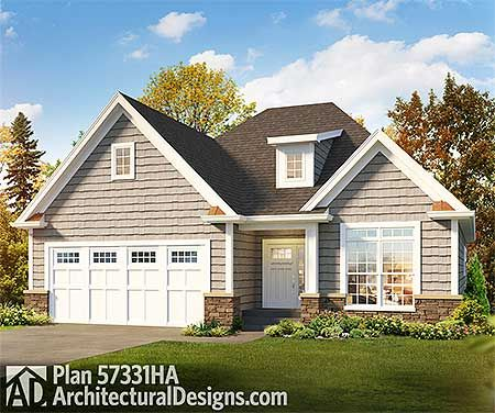 Plan 57331ha adorable two bedroom cottage butler for 2 bedroom lake house plans