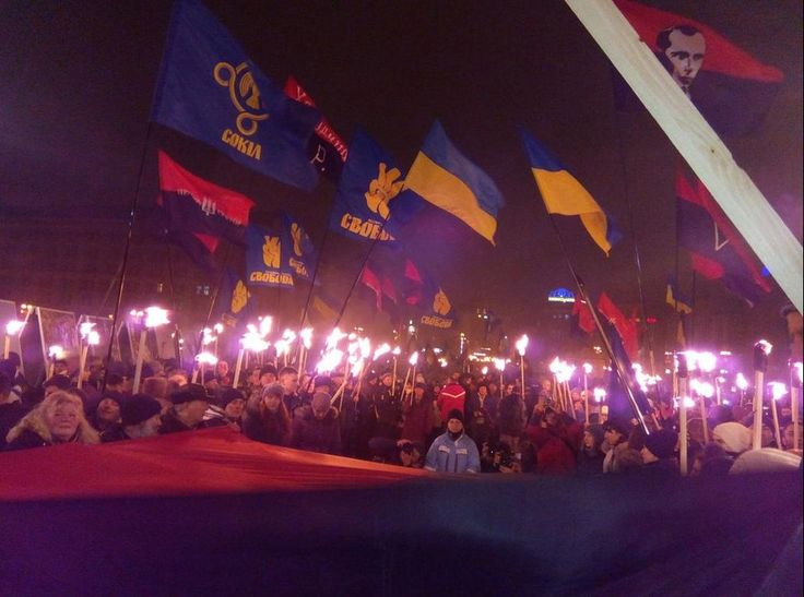 a torchlight procession to the birthday of the head of the Organization of Ukrainian Nationalists, Stepan Bandera was held in Kiev.