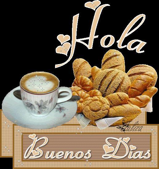 Delicioso desayuno junto al mensaje: Hola! Buenos Dias