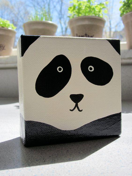 Original Adorable Panda Square Painting 4 x 4 by bylandandbysea