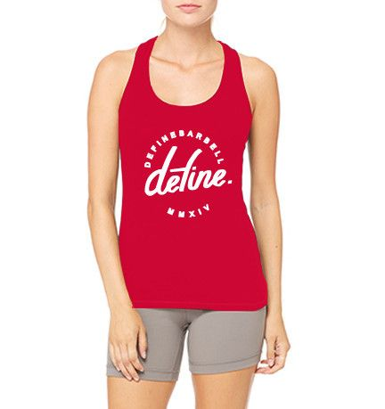 WOMENS RACERBACK TANK TOP - ATHLETIC RED / DEFINE CLASSIC LOGO