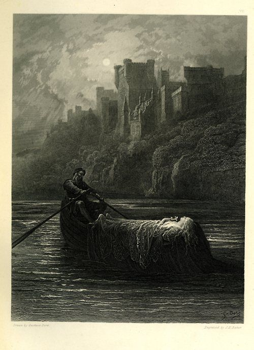 """""""The Body of Elaine on Its Way to King Arthur's Palace"""", Gustave Dore'."""