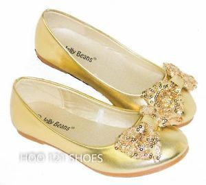 Gold youth dress shoes