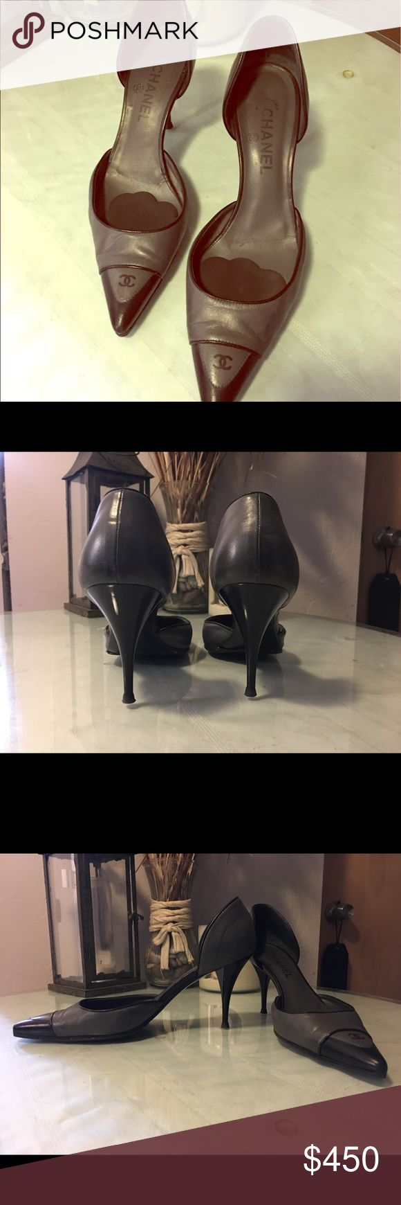 Final Price! Chanel Pointed Toe Heels-grey & black Lovely Chanel Pointed Toe Pumps, charcoal grey in color with black detail. Great condition, minimal signs of wear. Heel approx. 3 inches CHANEL Shoes Heels