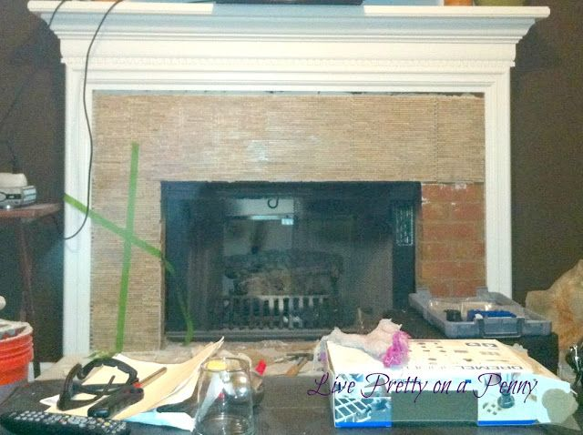 Live Pretty On A Penny Updating Dated Brick Fireplace