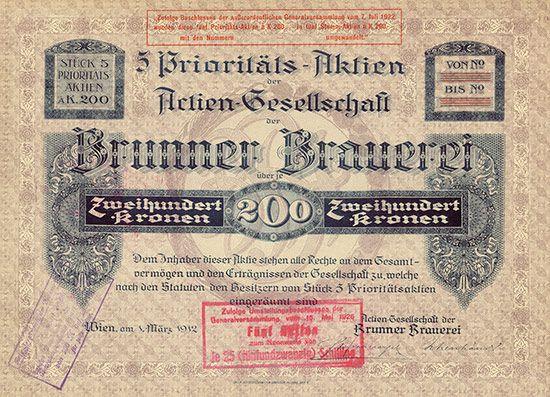 HWPH AG - Historische Wertpapiere - Actien-Gesellschaft der Brunner Brauerei / Wien, 01.03.1912, Blankett eines Zertifikats über 5 Prioritäts-Aktien zu je 200 Kronen, später auf 5 x 25 Schilling umgestempelt, o. Nr